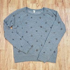 J. Crew Beaded Embellished Crew Neck Sweatshirt